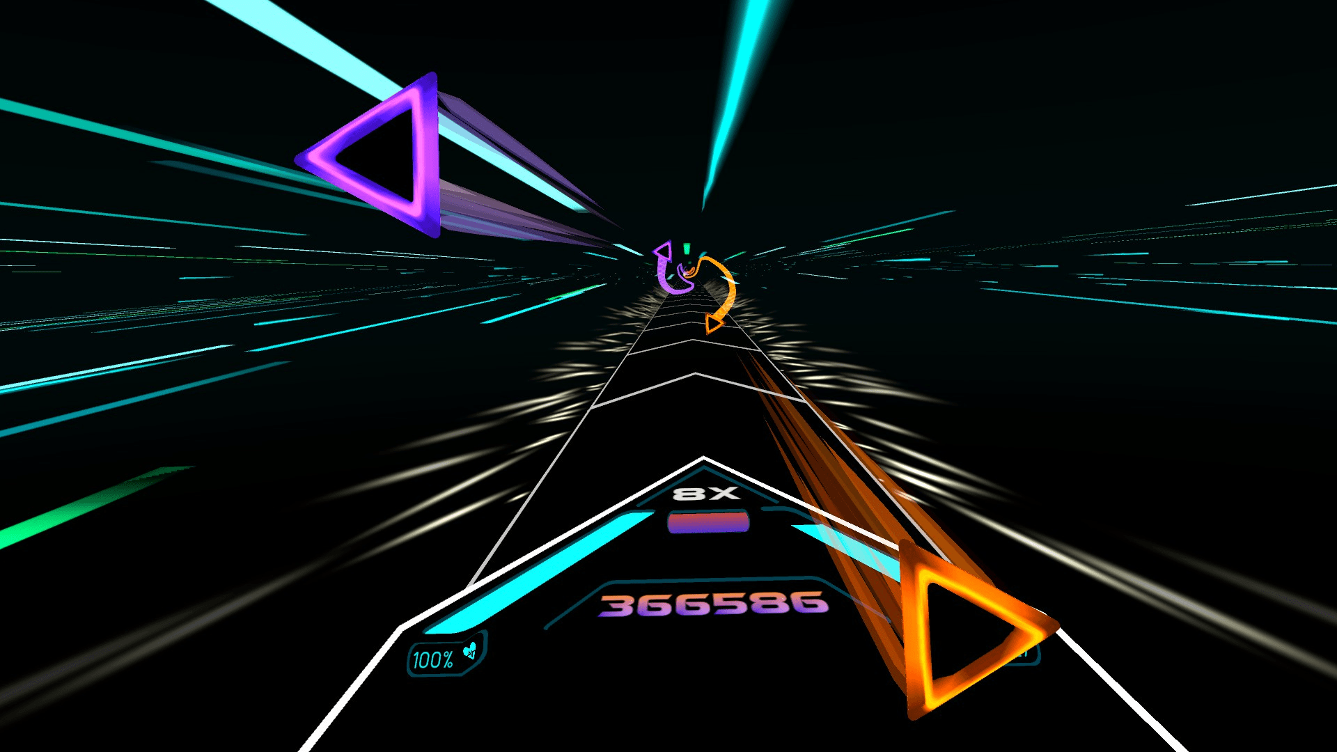 A screenshot from the Audio Trip game on Oculus Quest 2