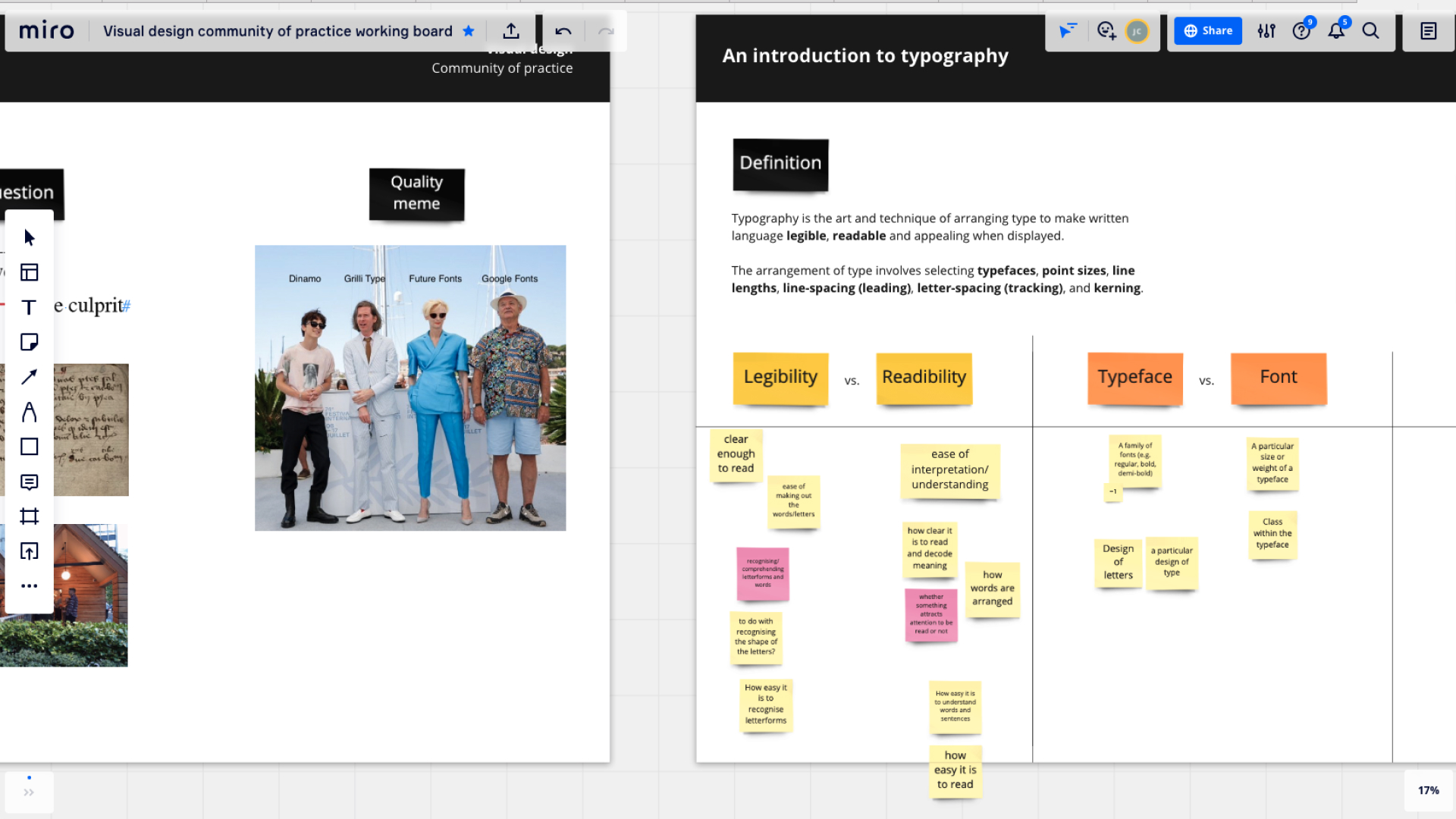 A screenshot from our Visual Design Community of practice on typography.